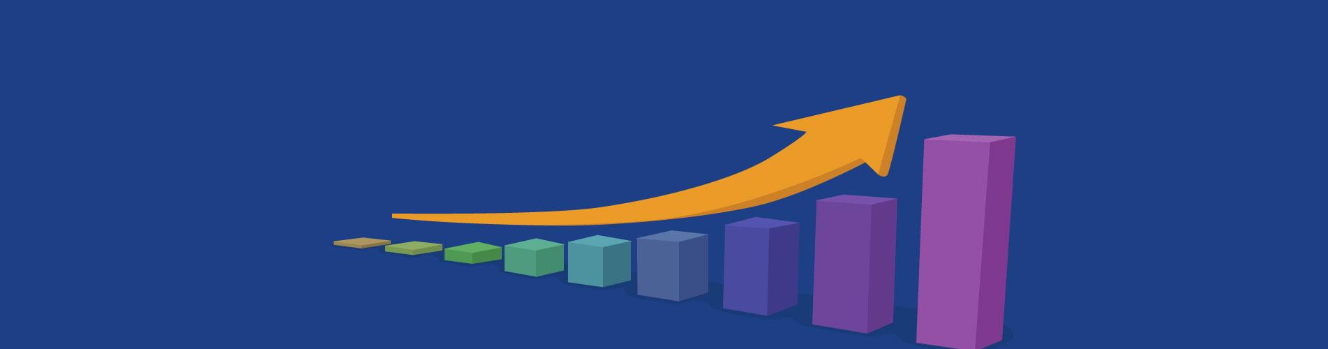 yellow arrow over graph